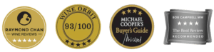 Row of four medals: Raymond Chan, Wine Orbit, Michael Coopers buyers guide, Bob Campbell The Real Review