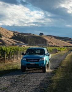 4W drive on gravel road in vineyard